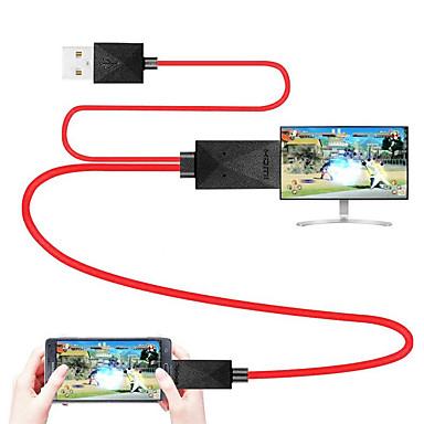 billige Sterkt anbefalt-mhl kabel micro usb 2.0 til hdmi 1.4 adapterkabel mannlig - mann 1,8m (6ft)