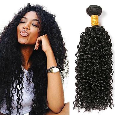 baratos Extensões de Cabelo Natural-3 pacotes Cabelo Brasileiro Kinky Curly Cabelo Humano Não processado Cabelo Natural Cabelo Humano Ondulado Cabelo Bundle Um Pacote de Solução 8-28 polegada Côr Natural Tramas de cabelo humano