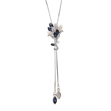 billige Mote Halskjede-Dame Krystall Y Halskjede Lang Blomst Koreansk Mote Moderne Chrome Grå Blå 90 cm Halskjeder Smykker 1pc Til Seremoni Aftenselskap