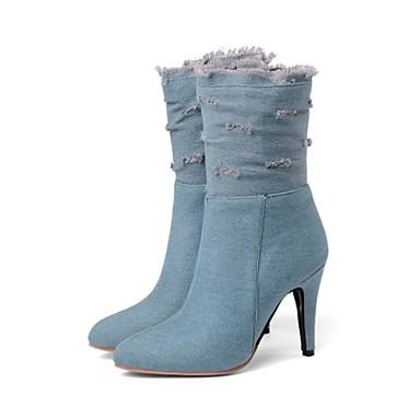 000b31c71 Mulheres Jeans Primavera & Outono / Primavera Verão Doce / Minimalismo Botas  Salto Agulha Peep Toe Botas Cano Médio Preto / Azul Escuro / Azul Claro
