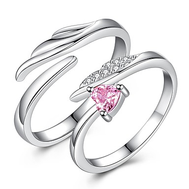 acec38b493 Couple's Couple Rings thumb ring Heart Romantic Elegant Ring Jewelry Silver  For Gift Date 2pcs
