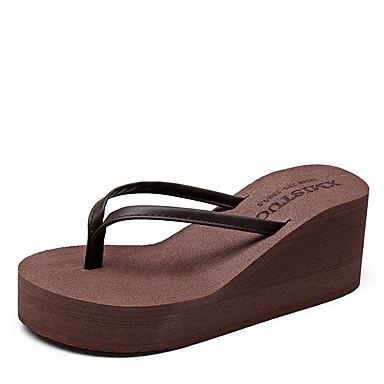voordelige Damespantoffels & slippers-Dames Slippers & Flip-Flops Creepers PU Zomer Zwart / Licht Grijs / Beige