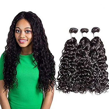 voordelige Weaves van echt haar-3 bundels Braziliaans haar Watergolf Mensen Remy Haar Menselijk haar weeft Verlenging Bundle Hair 8-28 inch(es) Natuurlijke Kleur Menselijk haar weeft Zacht Gemakkelijke dressing nieuwe collectie