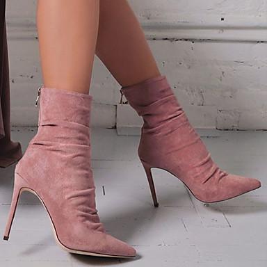povoljno Ženske čizme-Žene Čizme Stiletto potpetica Krakova Toe Brušena koža Čizme gležnjače / do gležnja slatko / minimalizam Jesen zima Crvena / Badem / Dusty Rose