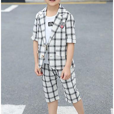 baratos Conjuntos para Meninos-Infantil Bébé Para Meninos Básico Moda de Rua Xadrez Estampado Manga Curta Algodão Terno & Blazer Azul