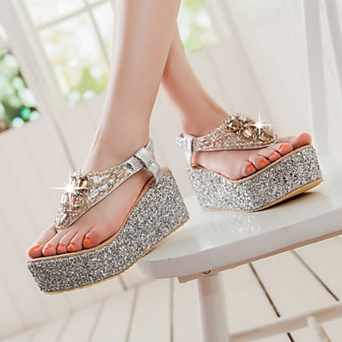 cheap Women's Shoes New Arrivals-Women's Synthetics Spring &  Fall / Spring & Summer Sweet / Minimalism Sandals Wedge Heel Cap-Toe Crystal / Sparkling Glitter Gold / Silver