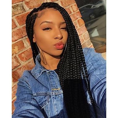 Pruik Lace Front Synthetisch Haar gevlochten Stijl Gelaagd kapsel Kanten Voorkant Pruik Zwart Zwart Synthetisch haar 24 inch(es) Dames Dames Zwart Pruik Lang Sylvia 130% Human Hair Density