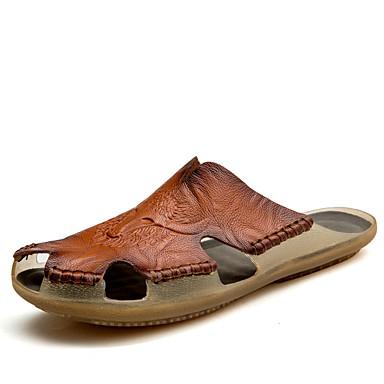 Недорогие Собираемся на пляж-Муж. Комфортная обувь Кожа Лето На каждый день Тапочки и Шлепанцы Для прогулок Дышащий Черный / Желтый / Темно-коричневый