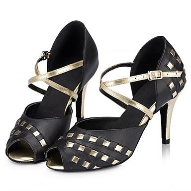 baratos Super Ofertas-Mulheres Couro Ecológico Sapatos de Dança Latina Recortes Salto Salto Alto Magro Personalizável Preto