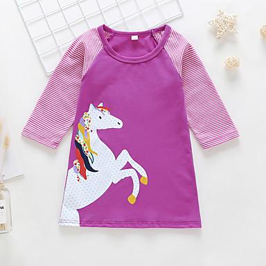 baratos Vestidos para Meninas-Infantil Bébé Para Meninas Básico Estilo bonito Unicorn Animal Desenho Animado Patchwork Estampado Manga Longa Acima do Joelho Vestido Amarelo