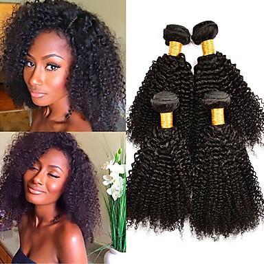 baratos Extensões de Cabelo Natural-4 pacotes Cabelo Brasileiro Kinky Curly Cabelo Virgem Cabelo Humano Ondulado Extensor Cabelo Bundle 8-28 polegada Côr Natural Tramas de cabelo humano S. Valentim Macio Clássico Extensões de cabelo