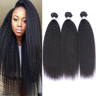 voordelige Weaves van echt haar-6 bundels Braziliaans haar KinkyRecht Mensen Remy Haar Menselijk haar weeft Bundle Hair Een Pack Solution 8-28inch Natuurlijke Kleur Menselijk haar weeft Waterherfst Schattig Modieus Design