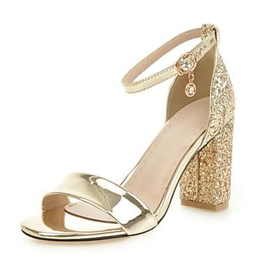 abordables Zapatos de Mujer-Mujer Cuero Sintético Otoño / Primavera verano Sandalias Tacón Cuadrado Dorado / Plateado
