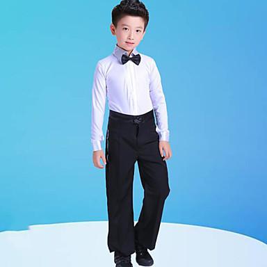 Danse latine / Tenues de Danse pour Enfants Tenue Garçon Entraînement / Utilisation Polyester Noeud(s) / Combinaison Manches Longues Haut / Pantalon / Collier