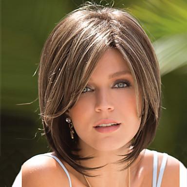 Synthetische Perücken Natürlich gerade Stil Asymmetrischer Haarschnitt Kappenlos Perücke Braun Flachsblond Synthetische Haare 8 Zoll Damen Party Braun Perücke Kurz Natürliche Perücke