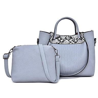 hesapli Çantalar-Kadın's Çantalar PU Çanta Setleri 2 Adet Çanta Seti Fermuar için Randevu / Dış mekan İlkbahar yaz / Sonbahar Kış Gri / Mor / Kahverengi / Yılan Derisi