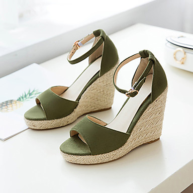 cheap Going to the beach-Women's Suede Spring &  Fall / Spring & Summer Sweet / Minimalism Sandals Wedge Heel Peep Toe Buckle Beige / Green / Blue