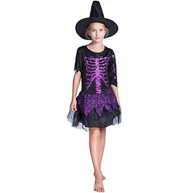 noita Mekot Cosplay-Asut Lasten Tyttöjen Hameet Halloween Halloween Karnevaali Masquerade Festivaali / loma Teryleeni Polyesteria Purppura Karnevaalipuvut Pääkallokuvio