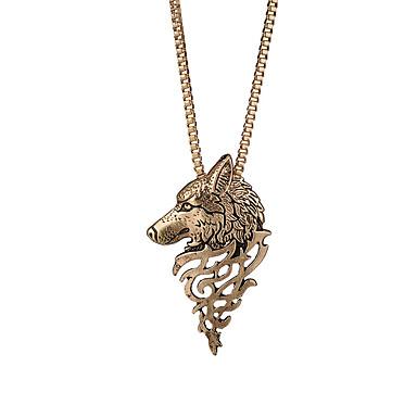 levne Dámské šperky-Pánské Náhrdelníky s přívěšky Vlčí hlava Moderní Rokové Módní skotský Chrome Černá Stříbrná Bronzová 63+5 cm Náhrdelníky Šperky 1ks Pro Denní Street Bar