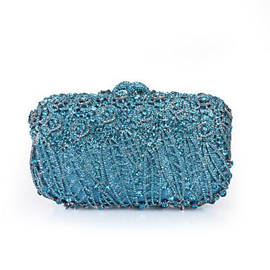 billige Vesker-Dame Krystalldetaljer / Uthult Legering Aftenveske Rhinestone Crystal Evening Bags Blomster / botanikk Rød Svart / Himmelblå / Marineblå / Høst vinter