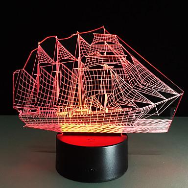3d led-akryyli värikäs gradientti tunnelma yövalo purjevene muoto värin 5v