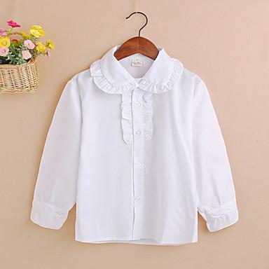 baratos Blusas para Meninas-Infantil Para Meninas Activo Sólido Manga Longa Algodão Camisa Branco