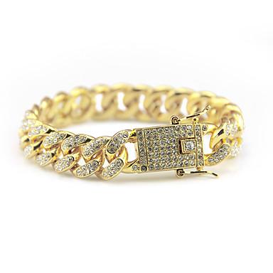 voordelige Herensieraden-Heren Kristal Armband Kristallen armband Cubaanse link Kostbaar Eenvoudig Europees Modieus Legering Armband sieraden Goud / Zilver Voor Feest Dagelijks Feestdagen Werk Festival