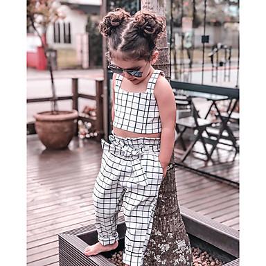 ccb05481 Kids / Toddler Girls' Active / Basic Check Lace up / Print Sleeveless Short  Cotton / Spandex Clothing Set White