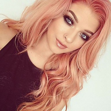 Synthetic Wig / Synthetic Lace Front Wig Wavy / Matte Jenner Style Free Part Lace Front Wig Rose Gold Synthetic Hair 24inch Women's Classic / Synthetic / Fashion Rose Pink Wig Long Cosplay Wig