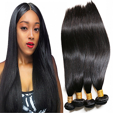 voordelige Weaves van echt haar-4 bundels Braziliaans haar Recht 100% Remy haarweefselbundels Menselijk haar weeft Bundle Hair Extentions van mensenhaar 8-28 inch(es) Natuurlijke Kleur Menselijk haar weeft Waterherfst Glad Hot Sale