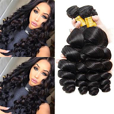 baratos Extensões de Cabelo Natural-4 pacotes Cabelo Indiano Ondulação Larga Cabelo Virgem 100% Remy Hair Weave Bundles Peça para Cabeça Cabelo Humano Ondulado Cabelo Bundle 8-28 polegada Natural Tramas de cabelo humano Sedoso Clássico