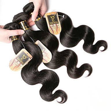 baratos Extensões de Cabelo Natural-3 pacotes Cabelo Indiano Onda de Corpo 100% Remy Hair Weave Bundles Cabelo Humano Ondulado Cabelo Bundle Um Pacote de Solução 8-28 polegada Côr Natural Tramas de cabelo humano Macio Melhor qualidade