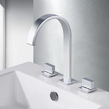 Kylpyhuone Sink hana - Vesiputous Kromi Kolmiosainen Kaksi kahvaa kolme reikääBath Taps
