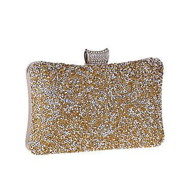 Naisten Kristallikoristelu PU Iltalaukku Rhinestone Crystal iltapusseja Yhtenäinen väri Kulta / Hopea / Syystalvi