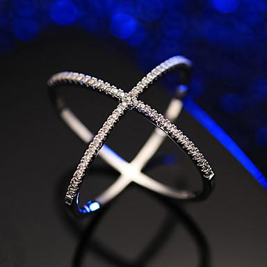billige Motering-Dame Ring Kubisk Zirkonium 1pc Sølv Kobber Stilfull Kunstnerisk Fest Engasjement Smykker X-ring Kul