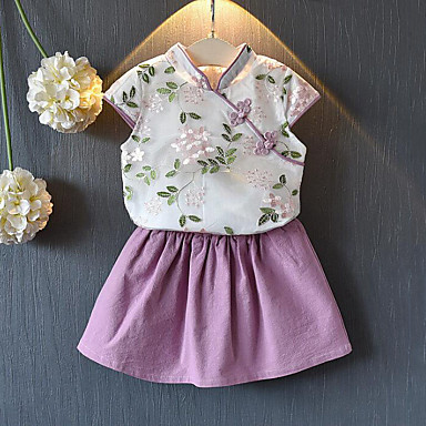 cheap Girls' Clothing Sets-Kids Girls' Street chic / Chinoiserie Floral Embroidered Short Sleeve Regular Polyester Clothing Set Pink