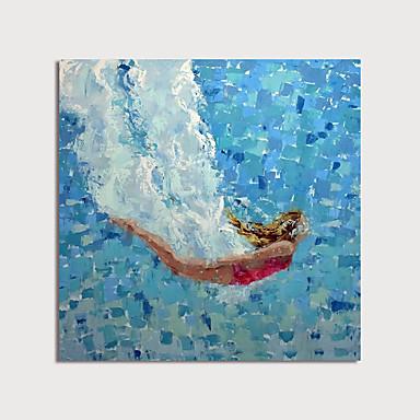 Hang-Painted öljymaalaus Maalattu - Abstrakti Ihmiset Moderni Sisällytä Inner Frame / Venytetty kangas