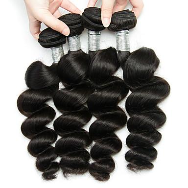 baratos Extensões de Cabelo Natural-4 pacotes Cabelo Peruviano Ondulação Larga Não processado Cabelo Natural Cabelo Humano Ondulado Cabelo Bundle Extensões de Cabelo Natural 8-28inch Côr Natural Tramas de cabelo humano Design Moderno