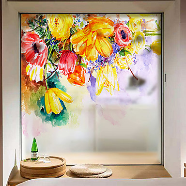 Window Film Stickers Decoration Contemporary 3D Flower Floral PVCPolyVinyl Chloride Sticker Anti Glare