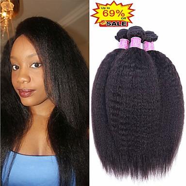 お買い得  ヘアエクステンション-4バンドル ブラジリアンヘア ストレート 未処理人毛 バンドル髪 人毛エクステンション 布模様 8-28 インチ ナチュラルカラー 人間の髪織り 新生児 ソフト 最高品質 人間の髪の拡張機能 女性用