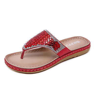 cheap Going to the beach-Women's PU(Polyurethane) Spring & Summer Casual / Sweet Slippers & Flip-Flops Flat Heel Round Toe Sequin Gold / Black / Red