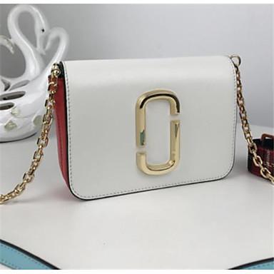 abordables Sacs-Sac à bandoulière en cuir nappa color block rose / blanc / rouge