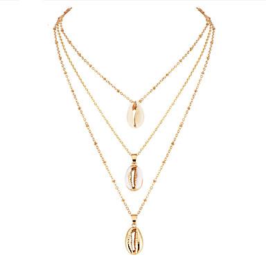 8a73d0f39f7e Mujer Multi capa Collares con colgantes Collares de cadena Collar Concha  Europeo De moda Coreano Boho