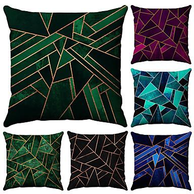 6 pcs Coton / Lin Taie d'oreiller, Géométrique Mode Imprimé Géométrique Avec motifs