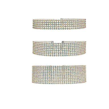 billige Mote Halskjede-Dame Choker Halskjede Luksus Fuskediamant Sølv Regnbue Lyseblå 30 cm Halskjeder Smykker 3pcs Til Bryllup Klubb
