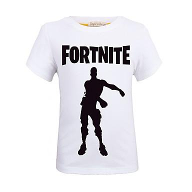 baratos Camisas para Meninos-Infantil Para Meninos Moda de Rua Estampado Estampado Manga Curta Camiseta Roxo