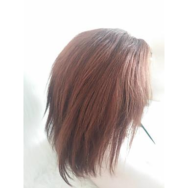 billige Blondeparykker med menneskehår-Ekte hår Helblonde Parykk Gratis del stil Malaysisk hår Rett Brun Parykk 130% Hair Tetthet Dame Brun Dame Kort Andre
