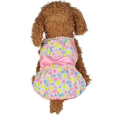 Koirat Kissat Hameet Koiran vaatteet Polka Dot Vihreä Pinkki Puuvilla Asu Käyttötarkoitus Kesä Nainen Tyylikäs Tavallinen