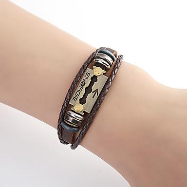 voordelige Herensieraden-Heren Wikkelarmbanden gevlochten Handschrift Armband Letter Punk Leder Armband sieraden Bruin Voor Dagelijks
