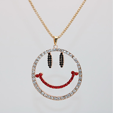 hesapli Moda Kolyeler-Kadın's Uçlu Kolyeler Kolye uzun Kolye Klasik Yüz Mutlu Basit moda Moda Krom Gül Rengi Altın Kaplama Beyaz 70 cm Kolyeler Mücevher 1pc Uyumluluk Günlük Cadde Tatil Doğum Dünü Festival